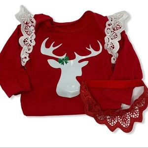 Red deer lace embellished bodysuit and headband 3m